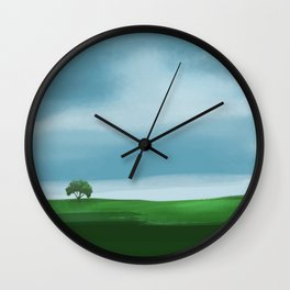 Clouds Rolling In Over Lone Tree Wall Clock