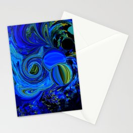 Abstract Blue with a Golden Glow Stationery Cards