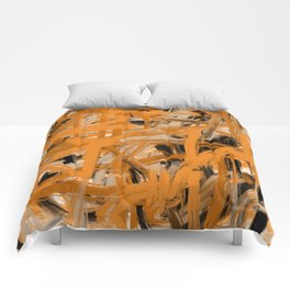 Orange & Taupe Abstract Comforters