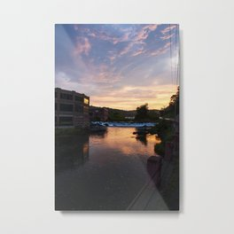 red brick factories black river Springfield Vermont at sunset Metal Print