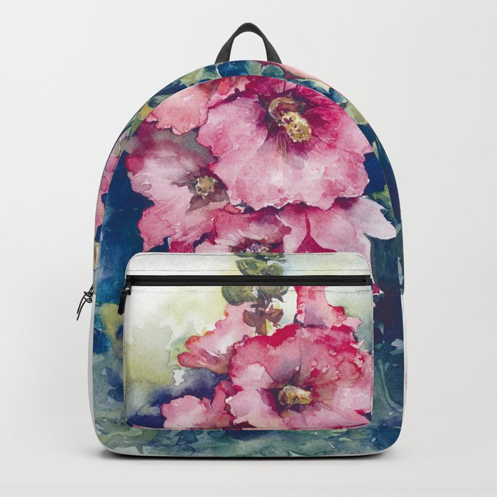 Watercolor Hollyhocks pink flowers Backpack