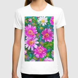 Pink Daisies Flower Party 1 by Jennifer Berdy T-shirt