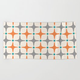 Mid Century Modern Star Pattern Grey and Orange Beach Towel