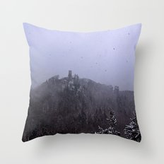 Castle ruin in the snow Throw Pillow