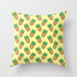 Watercolor Pineapples on Pastel Yellow Throw Pillow