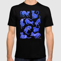 Cat Positions – Blue Palette LARGE Black Mens Fitted Tee
