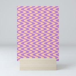Deep Peach Orange and Lavender Violet Vertical Waves Mini Art Print