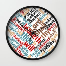 Christian Psalm 23 Colorful Word Art Wall Clock