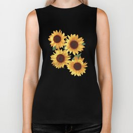 Happy Yellow Sunflowers Biker Tank