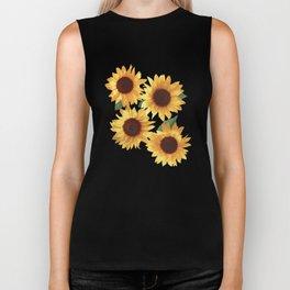 Happy Yellow Sunflowers Biker Tank