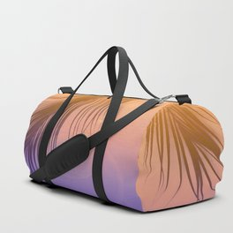 Palm Leaf Silhouette Orange Violet Background #decor #society6 #buyart Duffle Bag