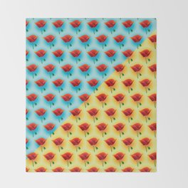 poppin poppies Throw Blanket