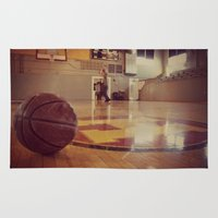 gym Area & Throw Rugs featuring Vintage Basketball Gym by KimberosePhotography