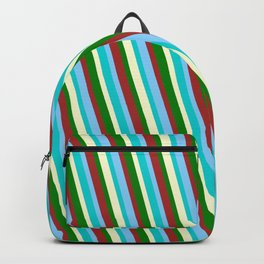 Colorful Brown, Light Sky Blue, Dark Turquoise, Light Yellow & Green Colored Lined/Striped Pattern Backpack