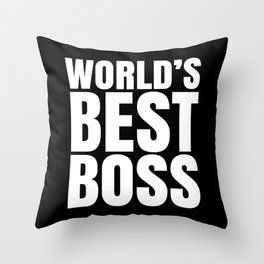 WORLD'S BEST BOSS (Black & White) Throw Pillow