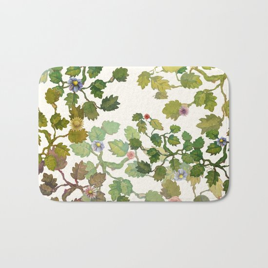 water color garden with flowers! ( Bath Mat
