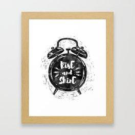 Hand drawn grunge illustration of the alarm clock with handwriting inscription Rise an Shine Framed Art Print