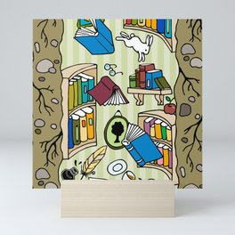 Books: Through the rabbit hole Mini Art Print
