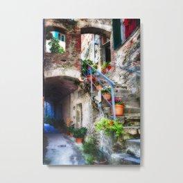 Narrow Street with Stairs, Corniglia, Cinque Terre, Liguria, Italy Metal Print