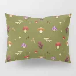 Pixel Mushrooms on Green Pillow Sham