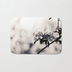 Black and White Flowers Bath Mat