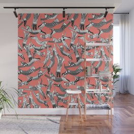 cat party blush coral Wall Mural