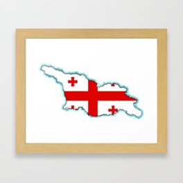 Georgia (Country) Map with Georgian Flag Framed Art Print