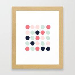 Painted dots trendy color palette minimal polka dots decor nursery home Framed Art Print
