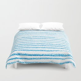 Blue crayon stripes pattern Duvet Cover