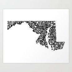 Typographic Maryland Art Print