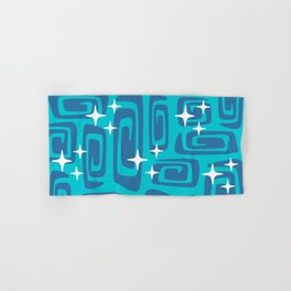 Mid Century Modern Cosmic Galaxies 436 Blue and Turquoise Hand & Bath Towel