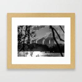 Power plants over a lake Framed Art Print