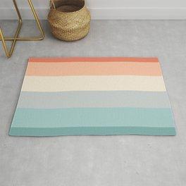 striped color pattern - red , orange, grey, green, Rug