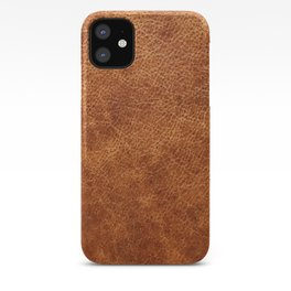 Brown vintage faux leather background iPhone Case