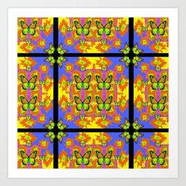 BLACK BARS MONARCH BUTTERFLIES BLUE=YELLOW DECORATIVE ART Art Print