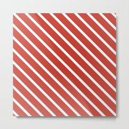 Coral Peach Diagonal Stripes Metal Print