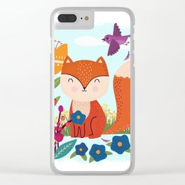 A Fox In The Flowers With A Flying Feathered Friend Clear iPhone Case