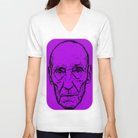 literature V-neck T-shirts featuring Outlaws of Literature (William S. Burroughs) by Silvio Ledbetter