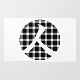 Plaid Dark Black Person Rug