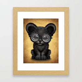 Cute Baby Black Panther Cub Wearing Glasses on Yellow Framed Art Print