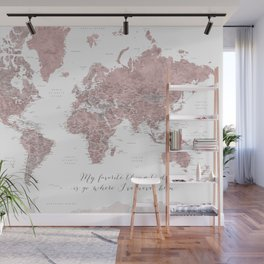 Where I've never been detailed world map in dusty pink Wall Mural
