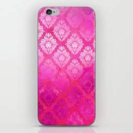 """""""Magenta Pink Damask Pattern"""" iPhone Skin"""