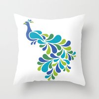 Throw Pillows featuring Retro Peacock by Lisann