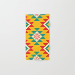 Bold and Vibrant Native Inspired Pattern on Yellow Hand & Bath Towel