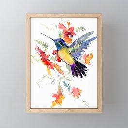 Hummingbird, floral bird art, soft colors Framed Mini Art Print