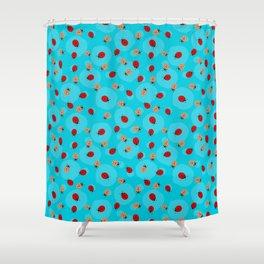 Dot Ladybugs - Cerulean Blue & Sky Blue Color Shower Curtain