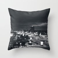 cityscape Throw Pillows featuring CITYSCAPE by katrinanicole