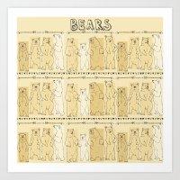 bears Art Prints featuring Bears! by Bird & Bow Studios