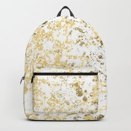 White and Gold Patina Style Design Backpack
