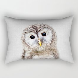 Baby Owl - Colorful Rectangular Pillow